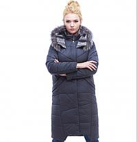 Пуховик - пальто зимнее женское серое с мехом енота размеры 54 размер, фото 3