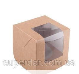 Коробка для 1 капкейка с окошком и со вставкой 85х85х90 мм., крафт