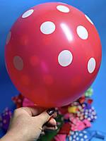 Шары Воздушные Надувные Шарики Разноцветные с Рисунком Горошек