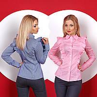 Женская рубашка с рюшами из хлопка в мелкую полоску