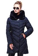 Женская зимняя стеганая куртка с эко-мехом мутона Дэнна