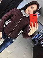 Женская стильная короткая куртка, в расцветках марсала, Л-42