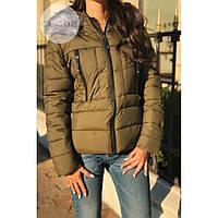 Куртка женская стильная теплая Fashion (холофайбер) хаки,магазин курток