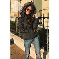 Куртка женская стильная теплая Fashion (холофайбер) черная,магазин курток