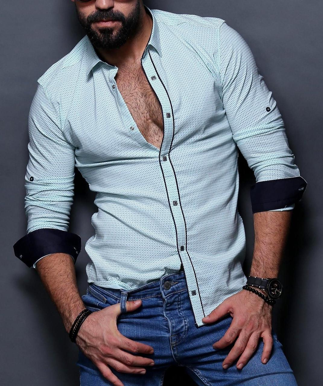 404ffeb15e4 Стильная рубашка для мужчин на планке нежно-голубого цвета