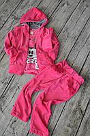 Весенний костюм из мягенького велюра с милыми рюшами на плече и карманах для девочки 2,3,4,5,6,7 лет