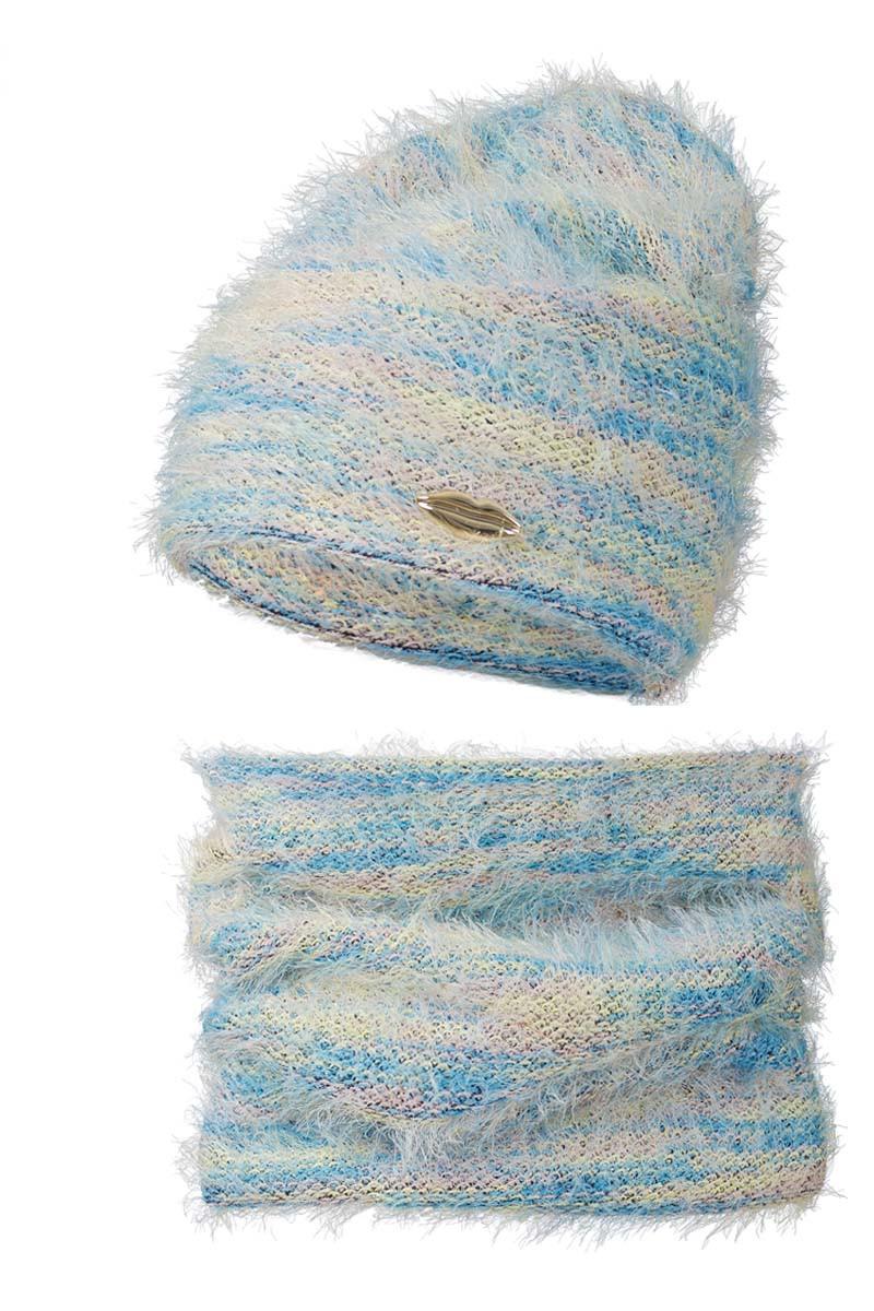 Теплый и комфортный набор Радуга, шапка и шарф - хомут