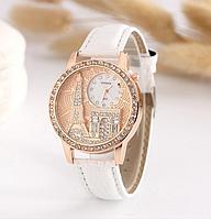 Женские наручные часы Эйфелева башня с белым ремешком код 159