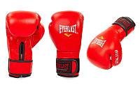 Перчатки боксерские кожаные на липучке Everlast  (р-р 8-12oz, красный), фото 1