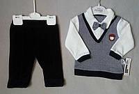 Нарядный детский велюровый костюм с бабочкой для новорожденных на мальчиков 6-12 мес Турция оптом