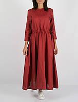 Платье Morandi из 100% льна темно-красного цвета