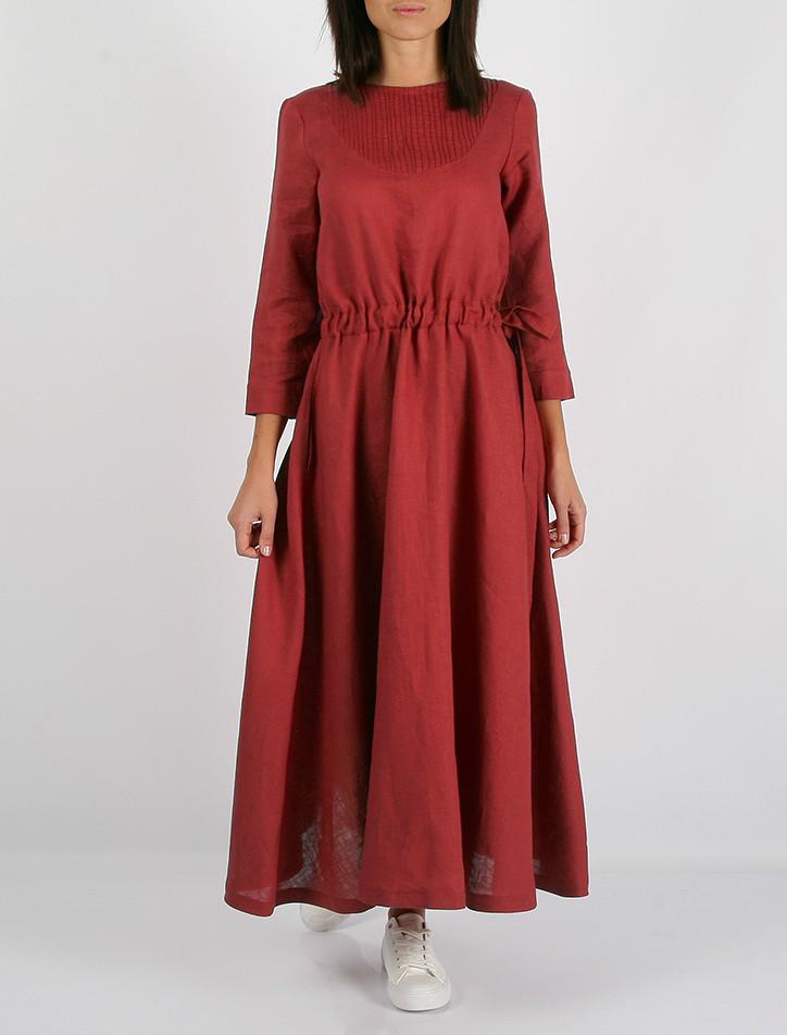 f6a8f7c078cfe4f Платье Morandi из 100% льна темно-красного цвета: продажа, цена в ...