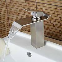 Современный водопад Центровой с керамическим клапаном одной ручкой одно отверстие для хрома, ванной раковина смеситель 05329368