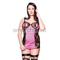 Комплект Nora розовый: комбинация + трусики-стринги + чулки + подвязки для чулок