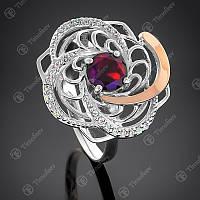 Кольцо серебряное  Роза с золотом и гранатом