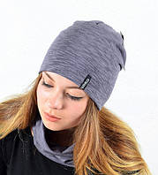 Женская шапка с хомутом из меланжевого трикотажа