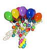 Стойка с разноцветными шарами и подвесками