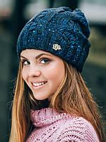Зимняя женская шапка с пайетками