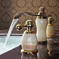 Современный Разбросанная Водопад with  Керамический клапан Две ручки три отверстия for  Титан с влогоотталкивающим покрытием , Ванная 05406298