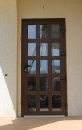 Входная металлопластиковая дверь ламинированная из цветного профиля Рехау Rehau стандартного цвета