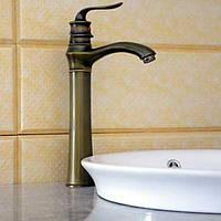 Античный Настольная установка Одной ручкой одно отверстие in Старая латунь Ванная раковина кран 04821713