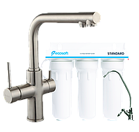 Смеситель для кухни  (сатин) IMPRESE DAICY+ Ecosoft Standart система очистки,55009S-F+FMV3ECOSTD
