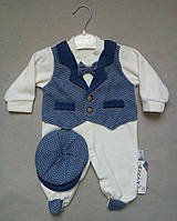 Нарядный велюровый человечек с бабочкой и кепкой для новорожденных на мальчиков 0-9 мес Турция оптом