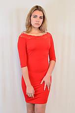 Стильное трикотажное платье с кружевом у выреза, Турция, фото 3