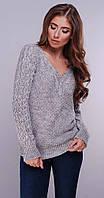 Женский вязаный свитер серый