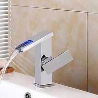 Ванной раковина смеситель одной ручкой кран изменение цвета привело водопад 05381148