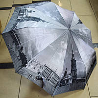 Женский зонт Города черно белый полуавтомат