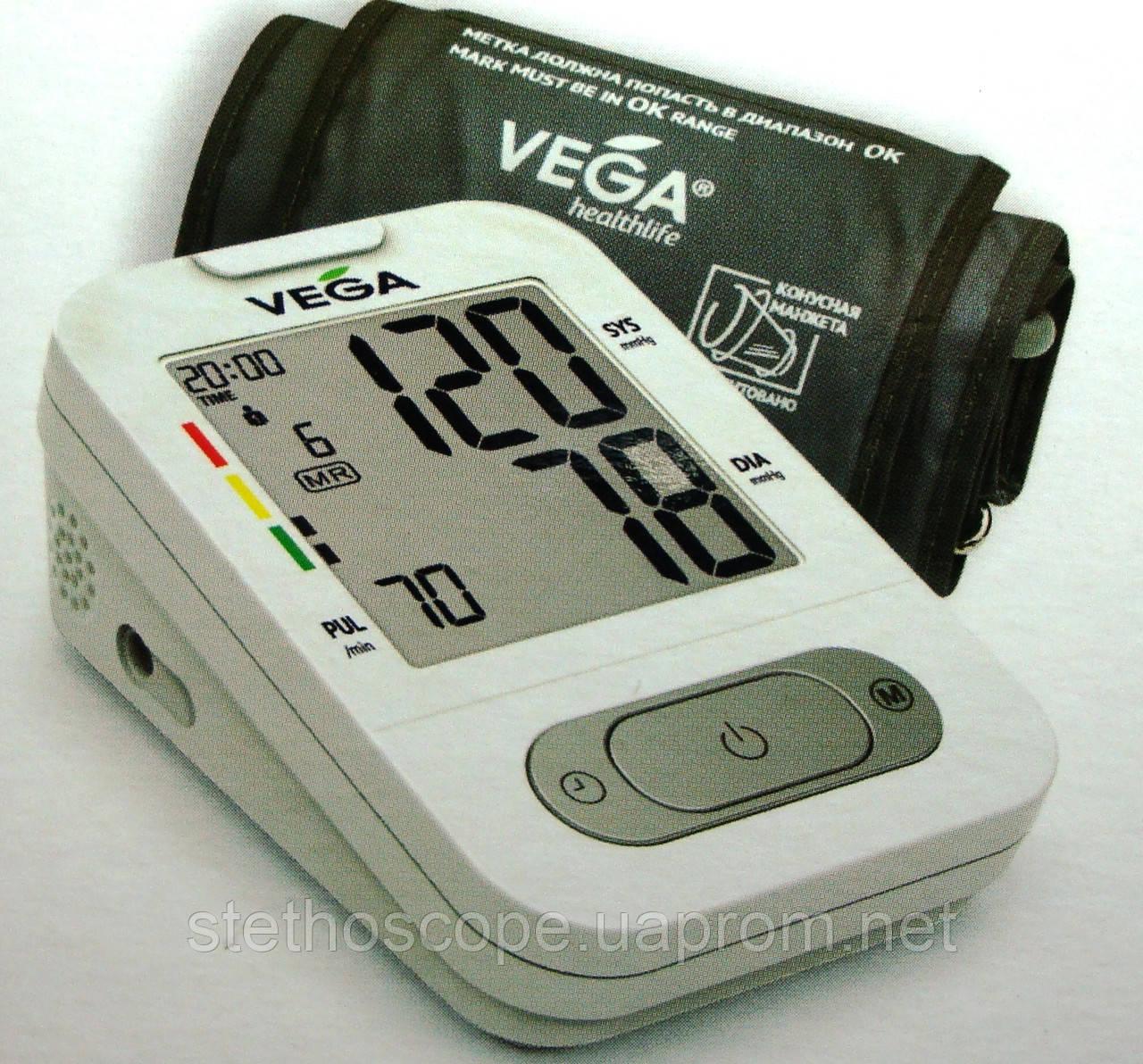 Автоматичний тонометр на плече VEGA - VA-350 індикатор аритмії манжета 22-42 див.