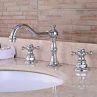 Современный настенный водопад с керамическим клапаном двумя ручками три отверстия для хрома, ванной кран 05387497