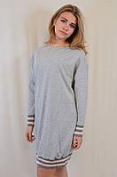 Стильное молодежное трикотажное серое платье-туника, Megi Турция