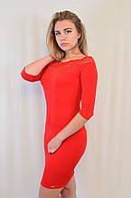 Стильное трикотажное платье с кружевом у выреза, Турция