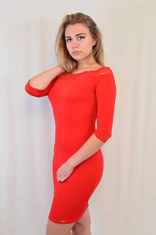 Стильное трикотажное платье с кружевом у выреза, Турция, фото 2