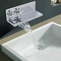 Современные хромированная отделка два Ellipse ручкой Водопад Ванная раковина кран (Double как полки) 00510536