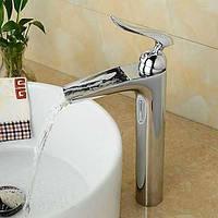 Современный водопад Центровой с керамическим клапаном одной ручкой одно отверстие для хрома, ванной раковина смеситель 05329366