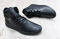 Мужские высокие кроссовки осень-весна цвет: черный Материал: натуральная кожа
