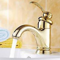 Античный По центру Керамический клапан Одно отверстие for  Матовый , Смеситель для ванны Ванная раковина кран Биде кран кухонный смеситель 01255355