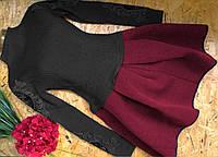 Вязаное платье с пышной юбкой  42-48р черный+красный