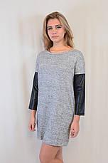 Стильное трикотажное платье с рукавами из эко кожи, фото 2