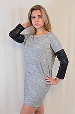 Стильное трикотажное платье с рукавами из эко кожи, фото 3