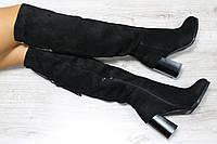 Зимние замшевые сапоги- ботфорты материал: натуральная замша, утеплитель : мех полушерсть (евро) цвет: черный