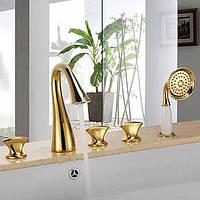 Античный Ванна и душ Водопад Ручная лейка входит в комплект with  Керамический клапан Три ручки пять отверстий for  Титан с 04171649