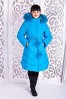 Красивая куртка, пальто зима для девочки бирюза 32, 34, 36, 38, 40 размер.Детская верхняя зимняя одежда!