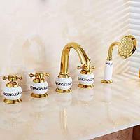 Античный ти-PVD три отверстия одной ручкой водопад ванной смеситель с ручным душем 05367796