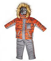 """Детский зимний костюм для мальчика """"Микс-спорт"""" оранжевый, 1-4 лет"""