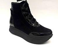 Ботинки женские на шнуровке натуральные кожа/замша осень-весна черные 0485УКМ