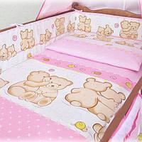 Защита бампер в детскую кроватку  из двух частей Мишутки розовый